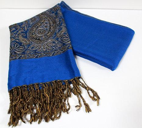 Châle pashmina bleu