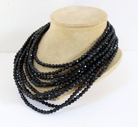 Collier vintage multi-rangs noir