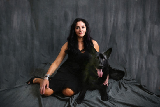 A women and her dog
