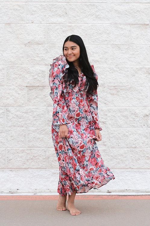 Floral Print Notch Dress