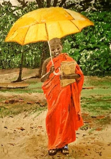 """Umbrella, 5x8"""" Oil, $150"""