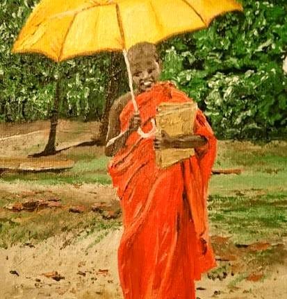 """Umbrella, 5x8"""" Oil, $150.CAD"""