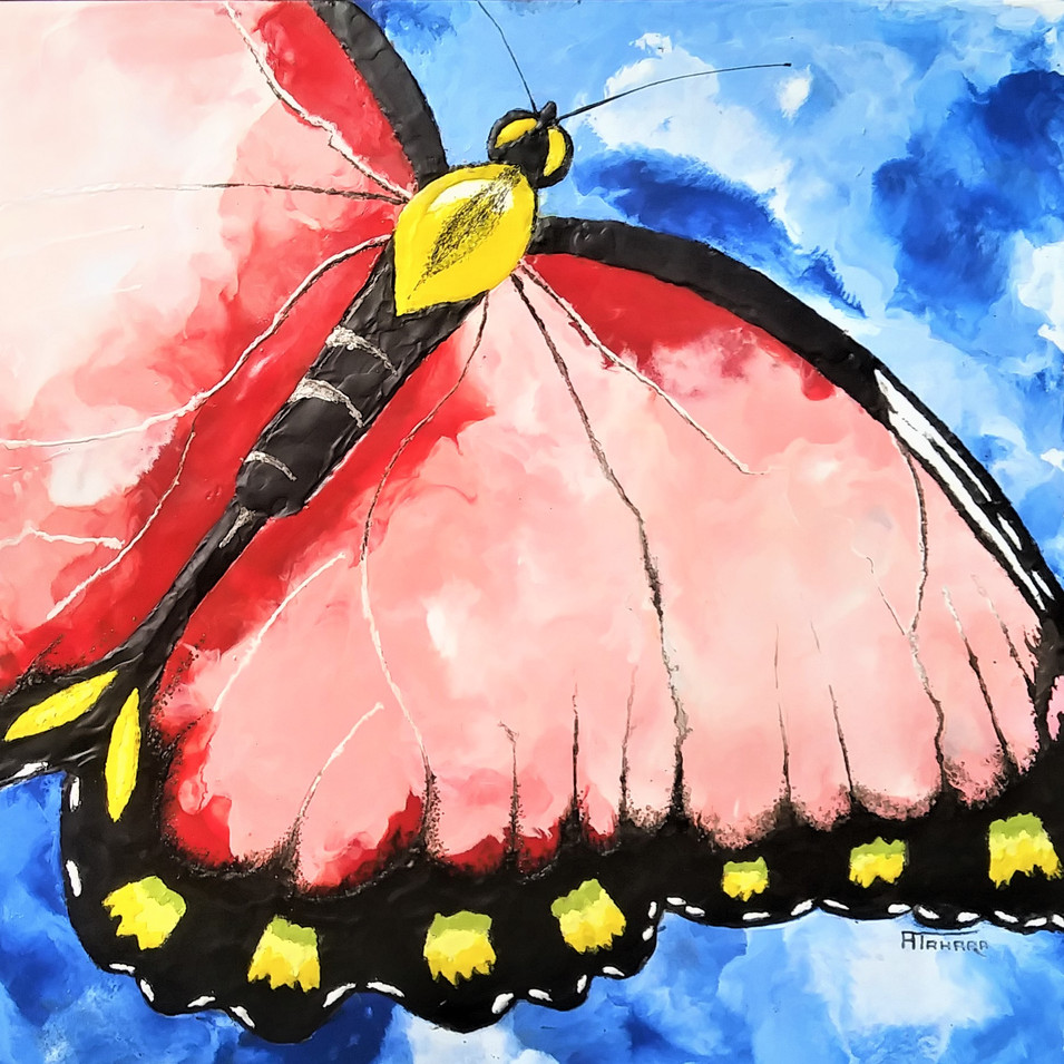 """Butterfly, 16x20"""" Encaustic, $500. CAD"""