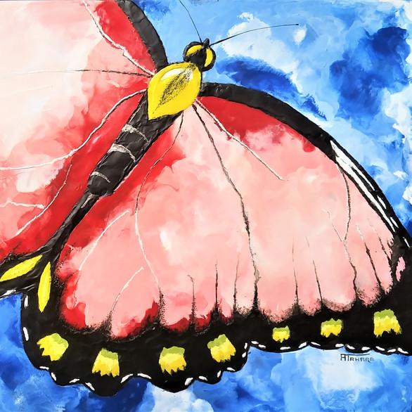 "Butterfly 15 x 20"" $400. Encaustic"