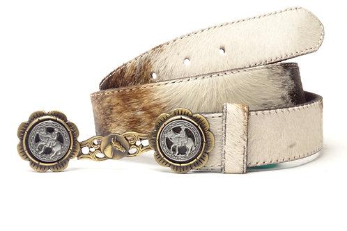 Cowhide lady belt with cufflinks. CIN 39.