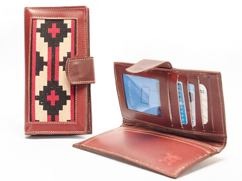 Lady wallet with leather corner with woven fabric Pampa. BILL 68