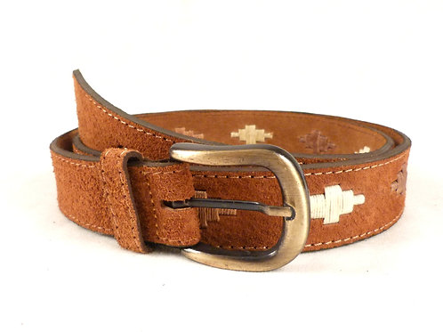 Diamond-shape embroidery belt (brown, beige). CIN 09