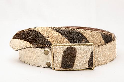 "Lady's belt Zebra animal print with ""Chapon "" buckle. CIN 06."