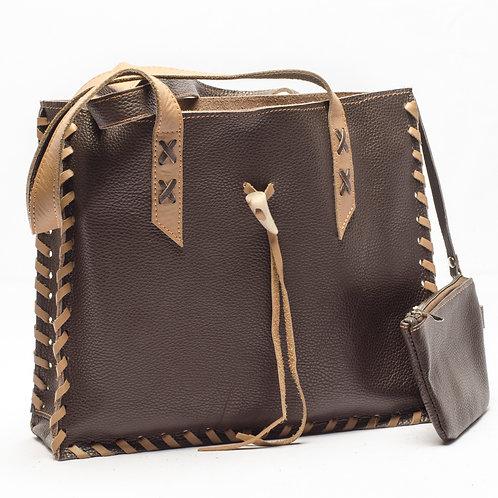 Copia de Bolso de cuero marrón modelo maletín con monedero. BOLS 02