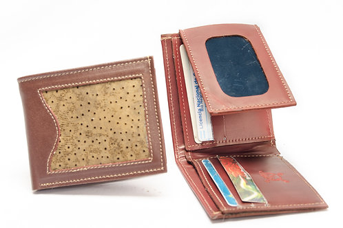Wallet man in grained leather double card holder and steering wheel. BILL 52