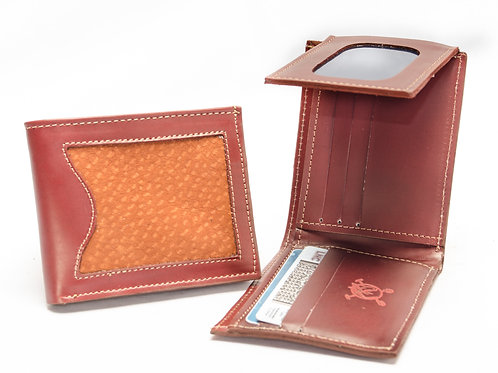 Man leather wallet with cover in double capybara card holder and steering. BILL