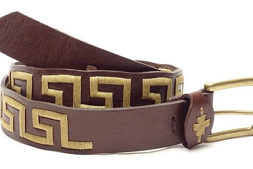 """""""Caminito"""" Embroidered brown polo belt. . CIN 21"""