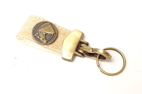 "Key ring"" rawhide"" with applique. LLA 09."