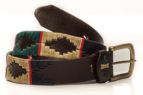 Fully embroidered black polo belt. CIN 02