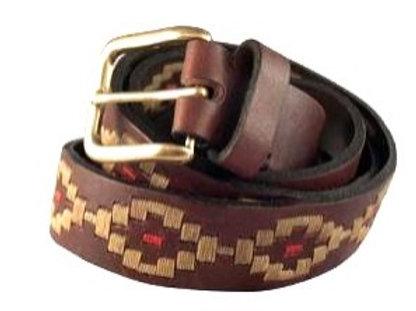 Cinturón Rombito Bordado Continuo marrón. CIN 12