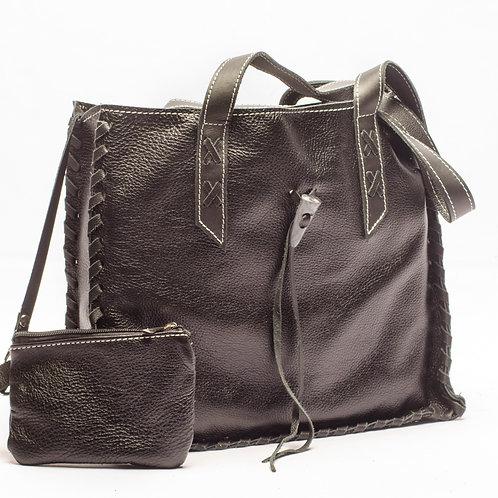 Copia de Bolso de cuero negro modelo maletín con monedero. BOLS 09