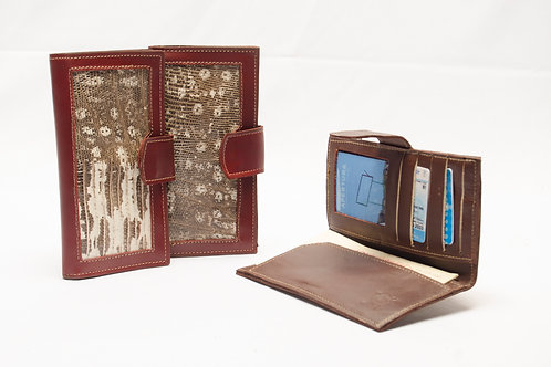 Lady wallet with leather corner with Iguana . BILL 69