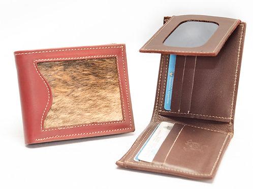 Leather man wallet with double hair card holder and steering wheel. BILL 58