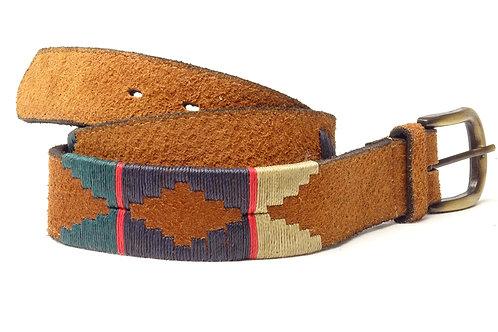 3-part Embroidered belt (brown, beige, vicuna). CIN 15.