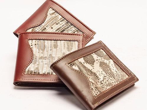Billetera hombre de cuero con iguana doble tarjetero. BILL 57