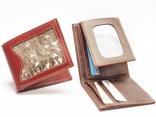 Billetera hombre de cuero con iguana doble tarjetero y volante. BILL 59
