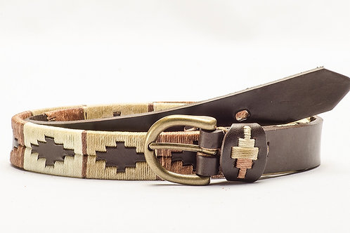 Fully Brown embroidered polo belt for kids. CIN 04