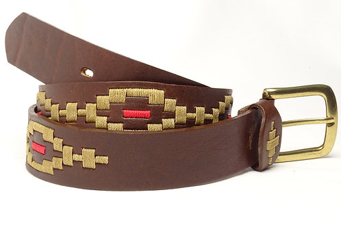 Fully embroidered  Rombito brown polo belt. CIN 12