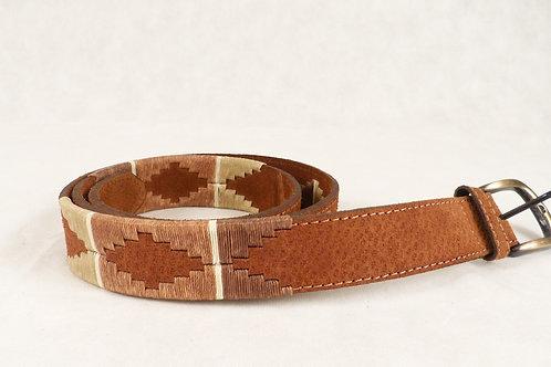 Cinturón Bordado en 3 partes marrón, vicuña ,beige . CIN 15