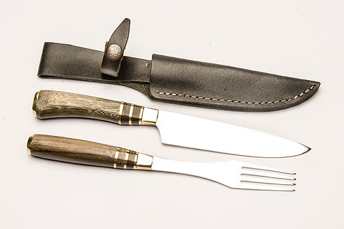 Big knife and fork set with inlay wood handle. CUCH 61