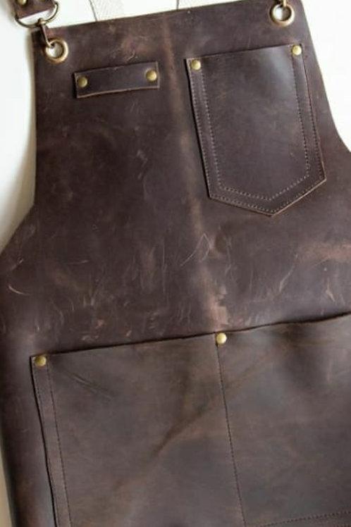 Brown leather apron. DEL 01