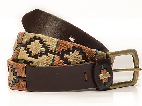 Fully embroidered brown polo belt. CIN 01