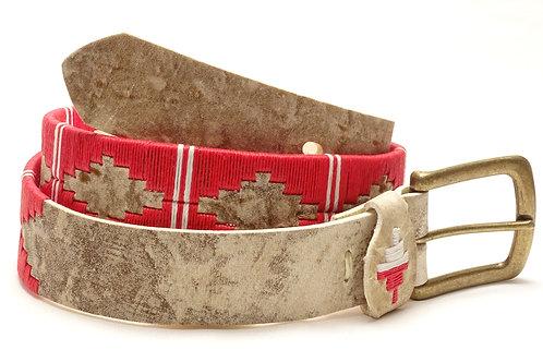 Red & white stripes rawhide lady polo belt. CIN 08