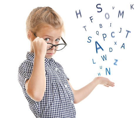 Little girl in glasses and alphabet letters on white background. Speech therapy concept.jpg