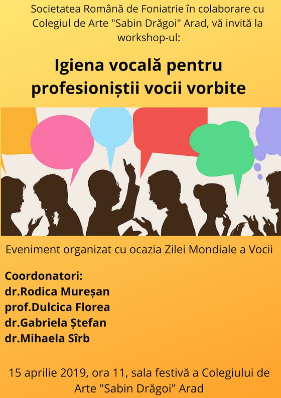 "Workshop ""Igiena vocala pentru profesionistii vocii vorbite"" - Arad"