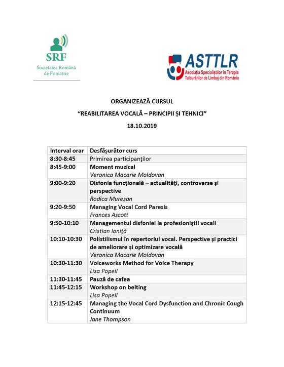 """Programul final al cursului """"Principii si tehnici de terapie vocala"""", 18 octombrie, 2019."""