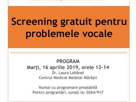 Screening gratuit pentru problemele vocale - in parteneriat cu Centrul Medical Medstar