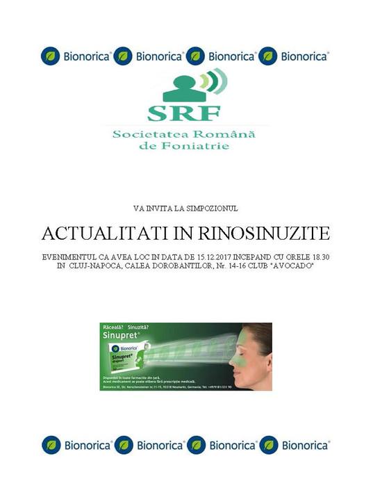 """SRF impreuna cu Bionorica organizeaza manifestarea """"Actualitati in tratamentul rinosinuzitei&qu"""