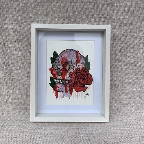 """Cuadro """"Cráneo y Rosa"""" Original"""