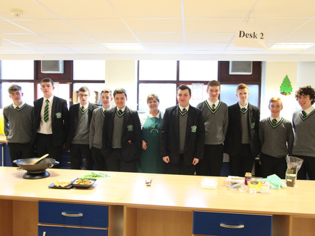 GCSE Home Economics Students enjoy a cookery demonstration by the Livestock and Meat Commission