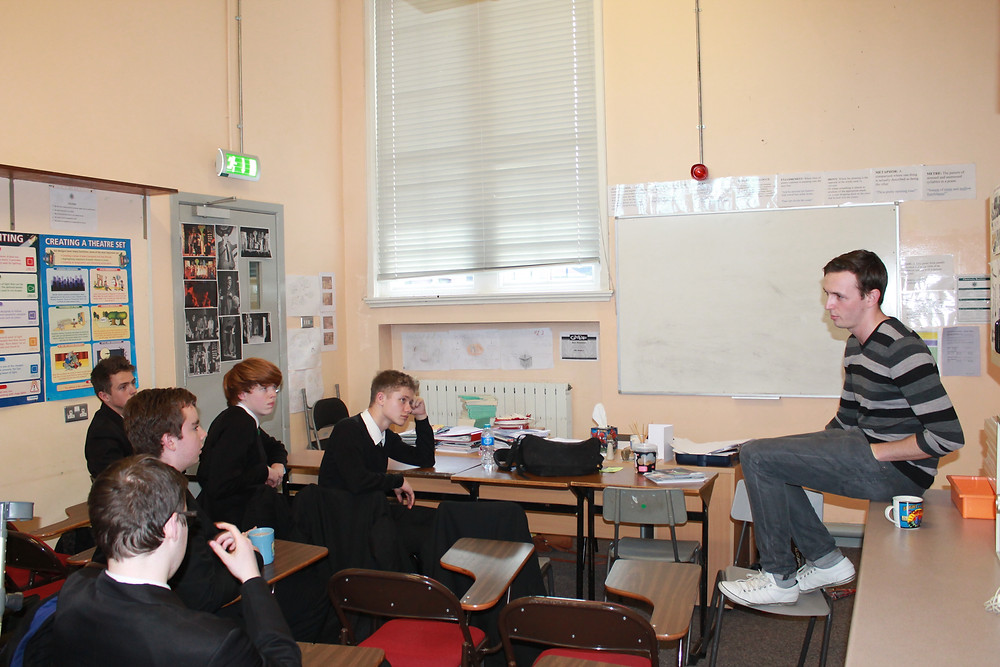 Rhys Dunlop with A Level Drama Students.JPG