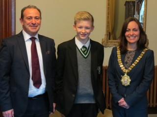 Mayor of Belfast recognises musical achievement of College Student, Tom Deazley.