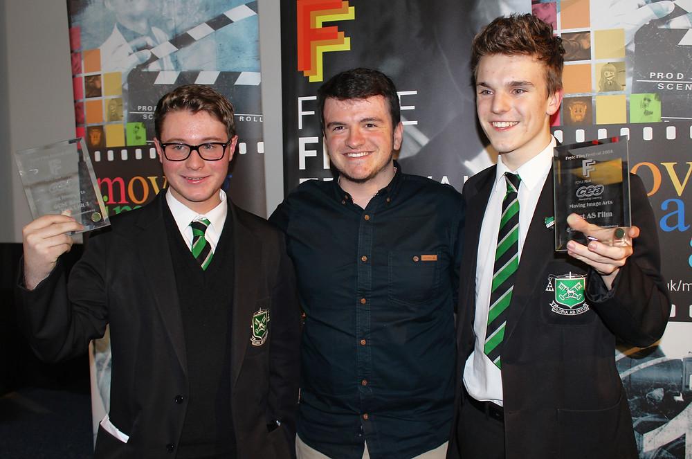 Matthew McGuigan, Leo McGuigan and Caolan Caddell at the 2014 CCEA Showcase.jpg