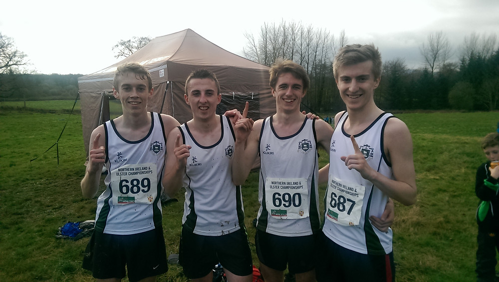 Ulster U19 Cross Country winning team. James Smyth, Darryl McNichol, Patrick Robb and Christopher Connolly