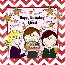 Vrolijke verjaardagskaart 3 dames met ta