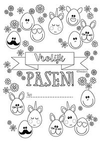 Kleurplaat Pasen met emoji paaseieren