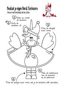 DIY Kerst eenhoorn kleurplaat- christmas unicorn
