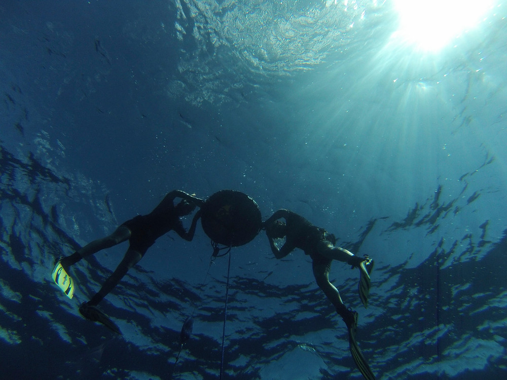 Freedivers with buoy underwater photo ibiza