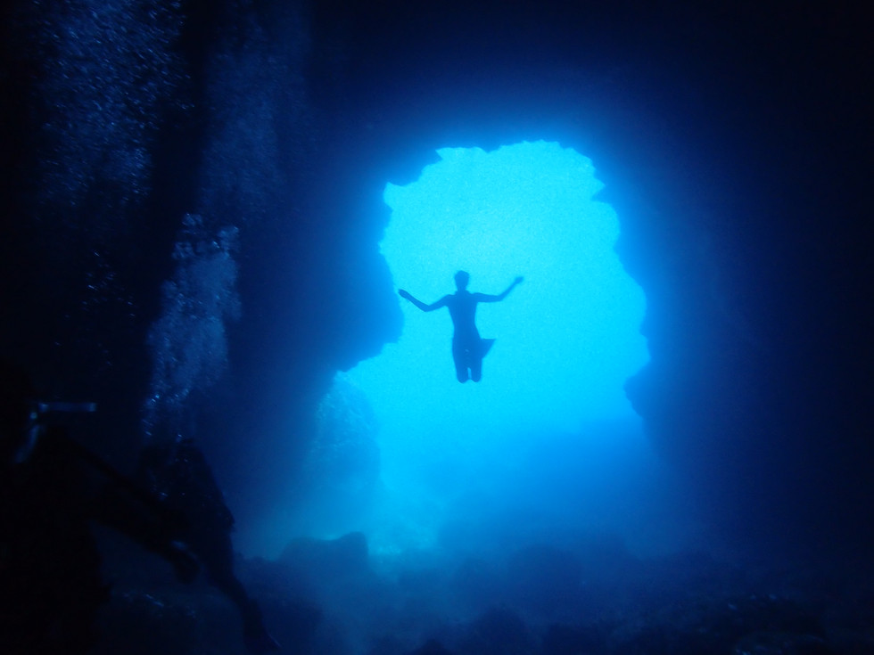 Freediving in the Cathedral, Ibiza