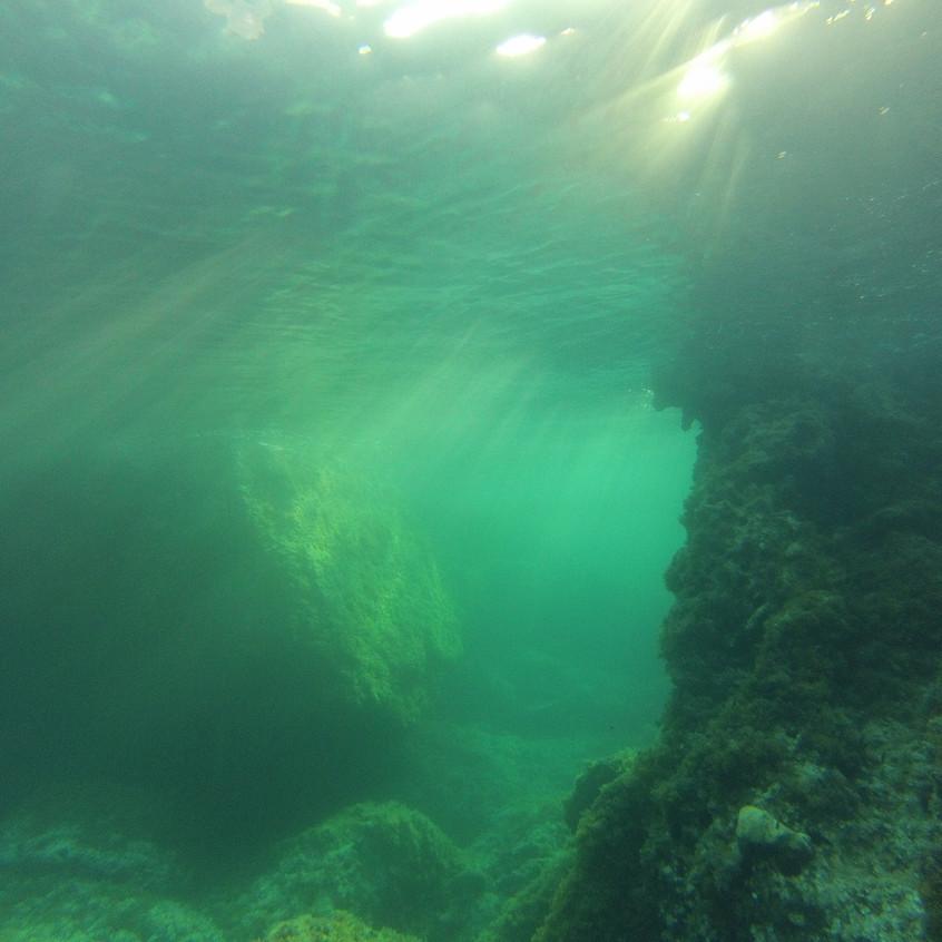 underwater at sunset Ibiza