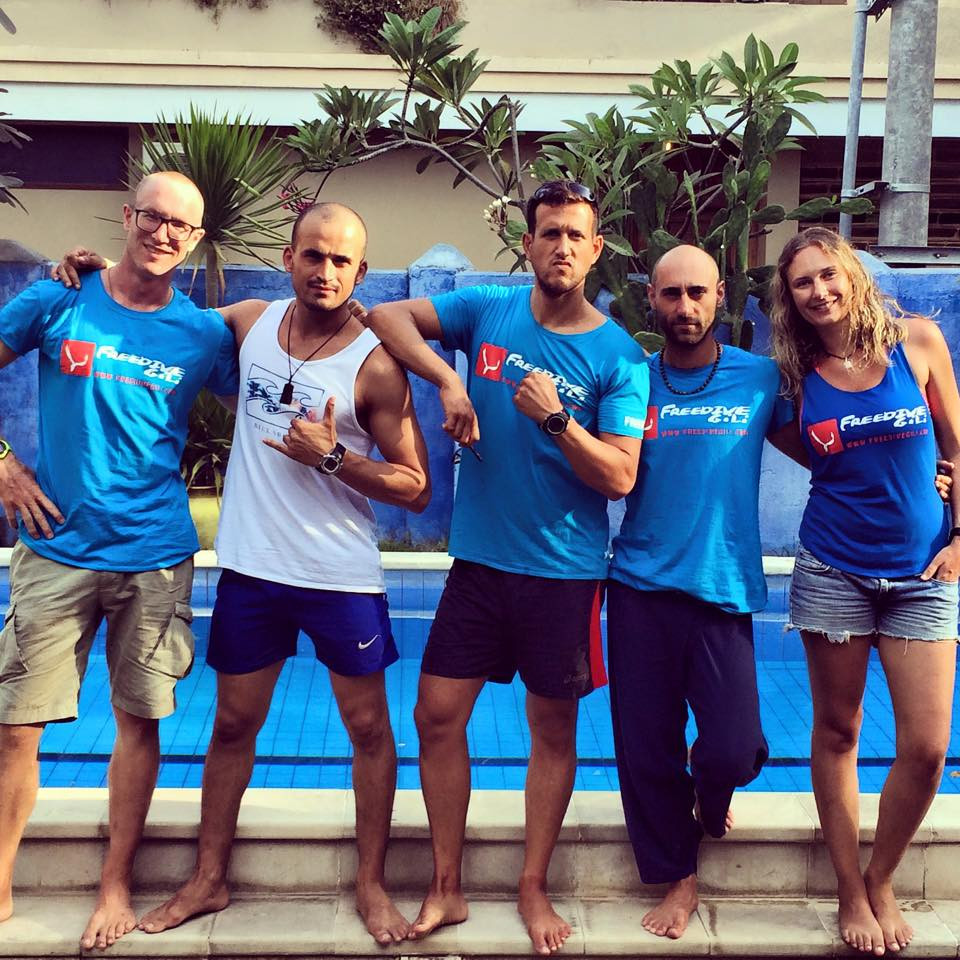 Gary and other instructors at Freedive Gili
